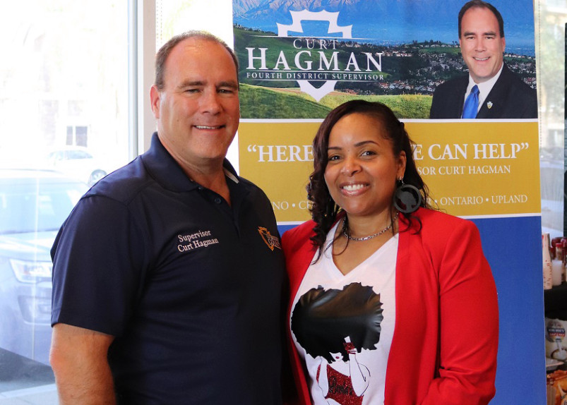 """Caramel Connections Founder Elizabeth McSwain and San Bernardino 4th District Supervisor Curt Hagman pose for a photo as Elizabeth is honored as """"Community Hero"""""""